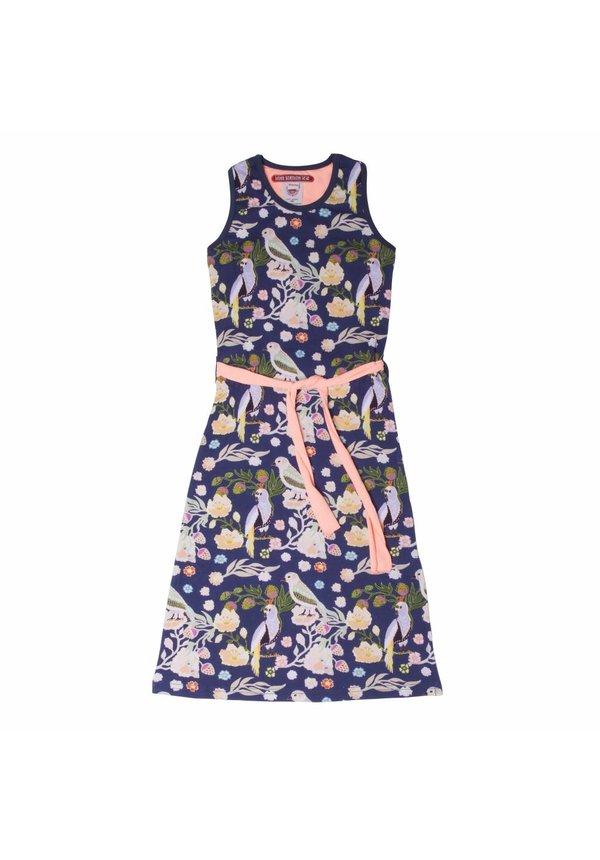 Maxi jurk Nora met vogeltjes, coral/blauw, Lovestation22, zomer 2018