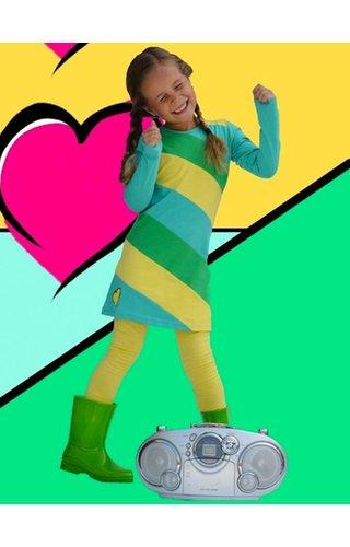 Happy nr 1  Jurkje met groen gele strepen
