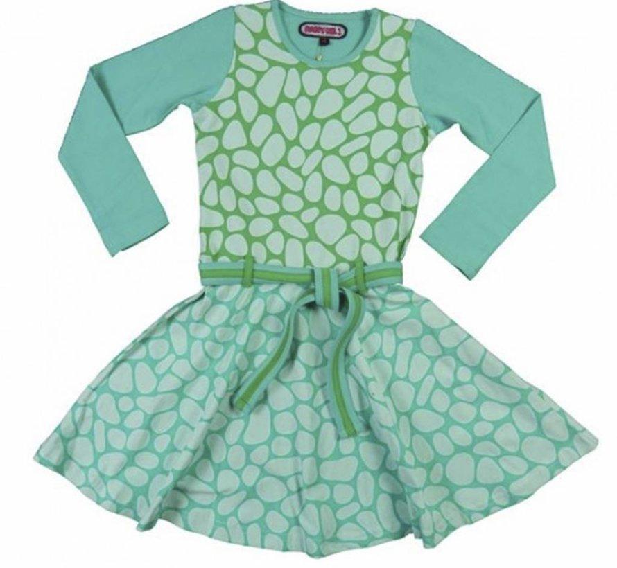 Dansjurkje in mintgroen met turquoise vlekken, Happy, winter