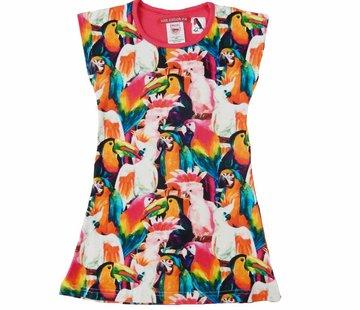 LoveStation22 Zomerjurk  Soof met toucans en papegaaien