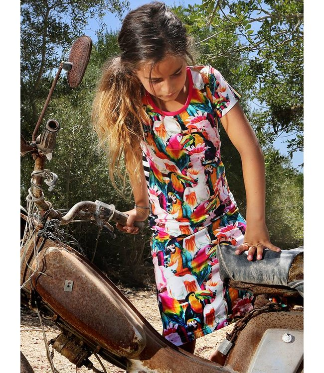 LoveStation22 Knielang jurkje Lexi met toucans en papegaaien