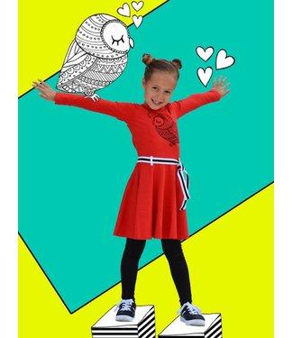 Happy nr 1  Rode dansjurk met uil