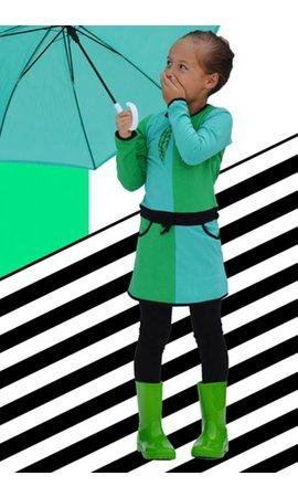 Happy nr 1  Groen blok jurkje met veren