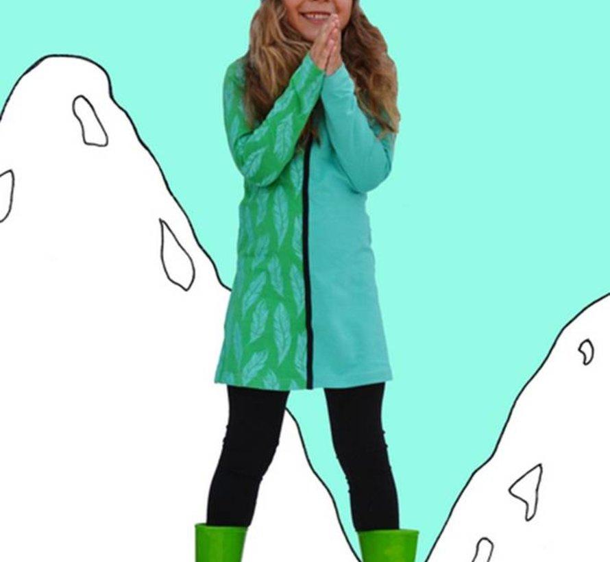 Groen jurkje met veren, Happy, winter 2017-2018