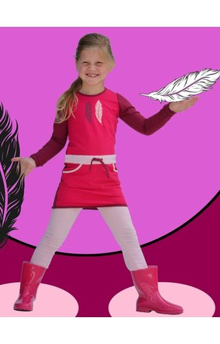 Happy nr 1  Jurkje fuchsia, burgundy en zachtroze met veren