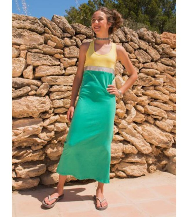 LavaLava Maxi jurk Burundi Neongeel - Zeeblauw