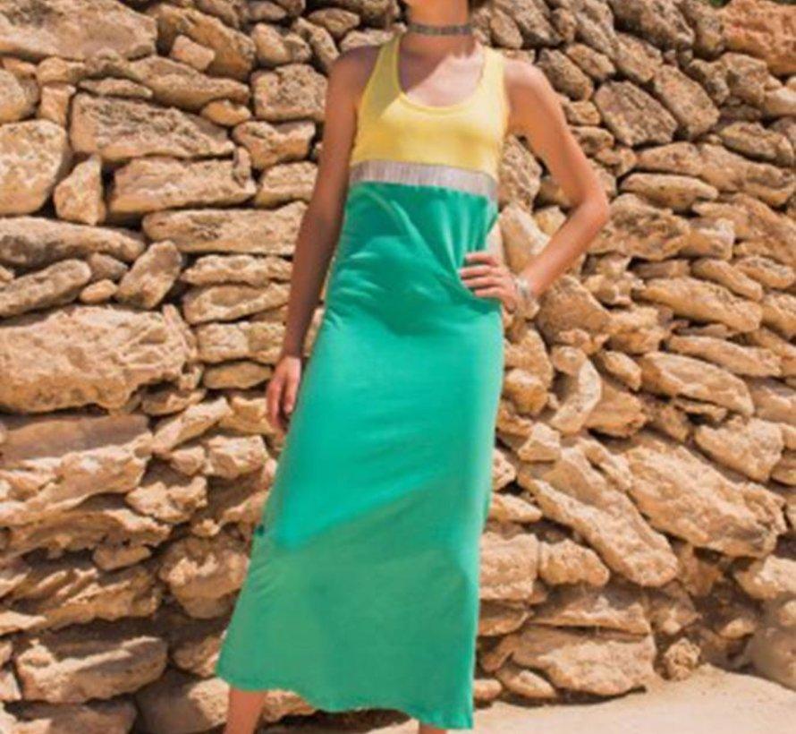 Maxi jurk Burundi neongeel blauw, LavaLava, zomer 2018