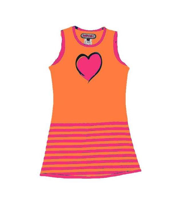 Happy nr 1  Jurkje hart streepjes  roze oranje, zomer 2018