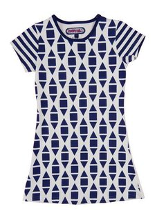 Happy nr 1  Grafisch jurkje blauw wit, zomer 2018