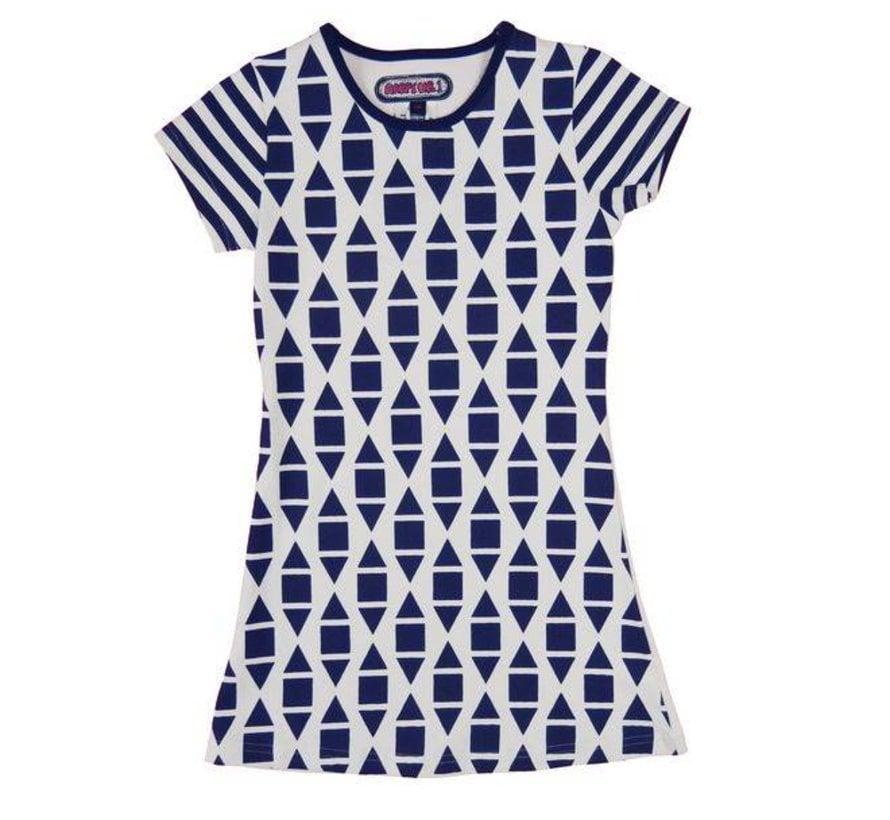 Grafisch zomer jurkje,  Happy nr 1, zomer 2018 , blauw wit