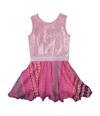 LoFff Roze zomerjurkje met zilverprint