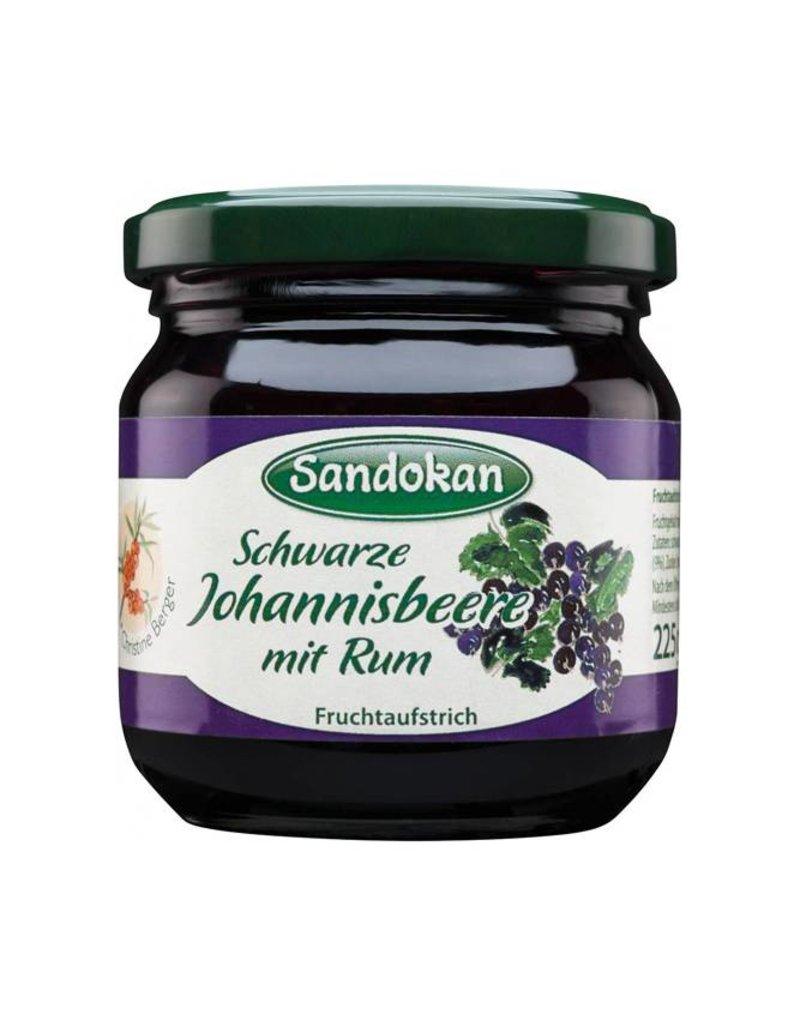 Sandokan Fruchtaufstrich Schwarze Johannisbeere mit Rum 225 g