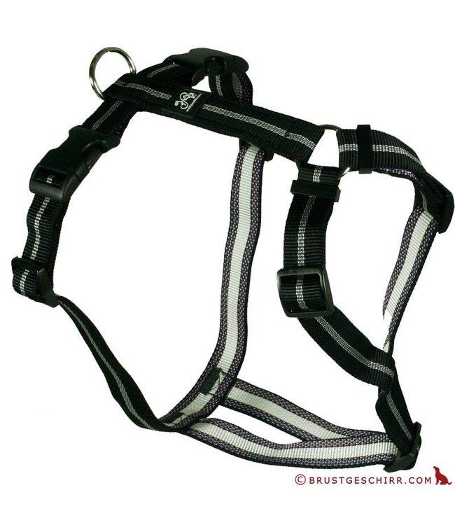 Hundegeschirr - Brustgeschirr Soft Nylonband Streifen schwarz