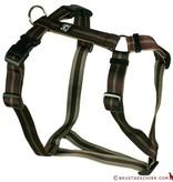 Hundegeschirr - Brustgeschirr Soft Nylonband Streifen braun