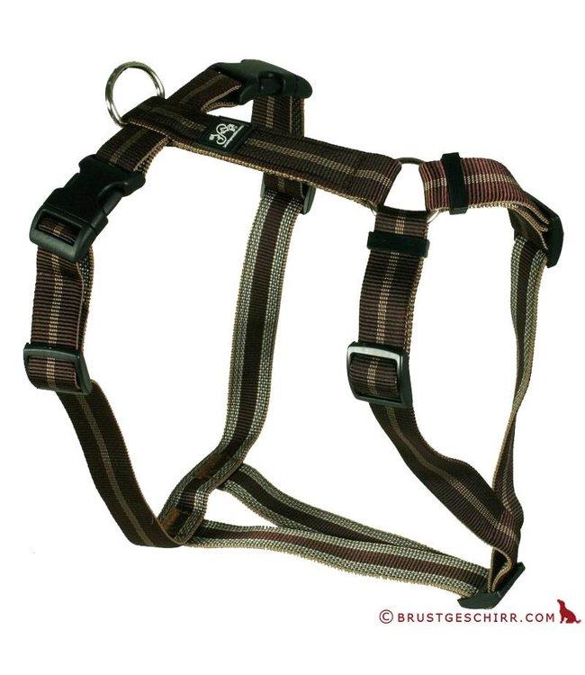 Feltmann - Hundegeschirr - Brustgeschirr Soft Nylonband Streifen braun