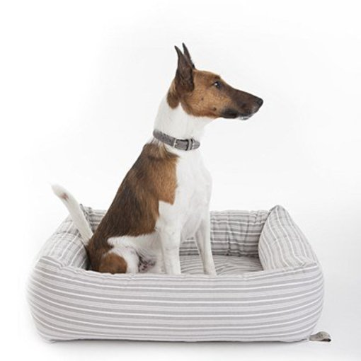 Mungo and Maud - Bolster Dog Bed Grey Stripe