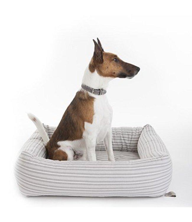 Mungo and Maud - Bolster Dog Bed Grey Stripe
