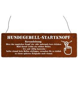 "Interluxe - Shabby Vintage Holzschild ""Hundegebell-Startknopf"""