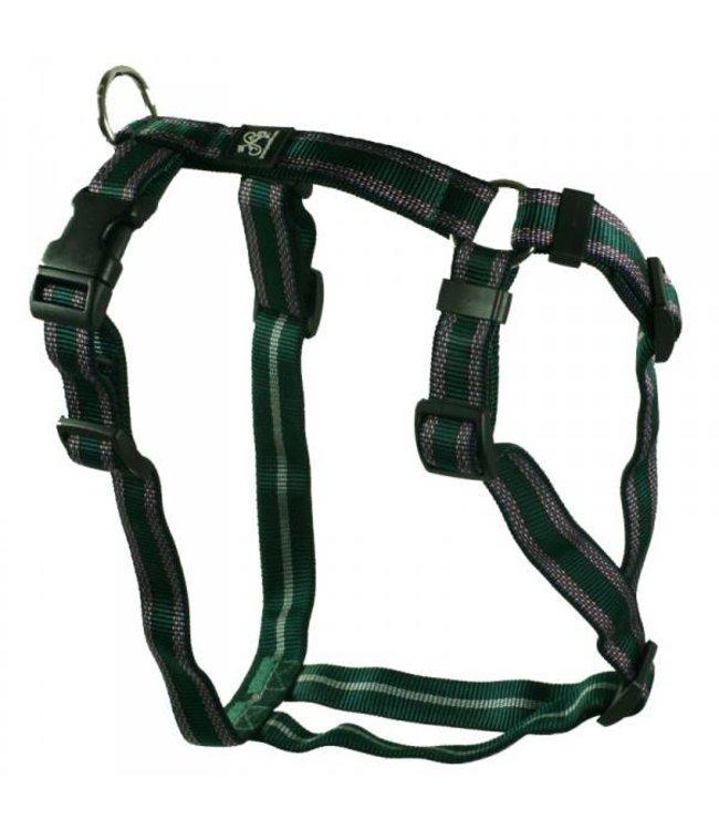 Hundegeschirr - Brustgeschirr Soft Nylonband Muster grün