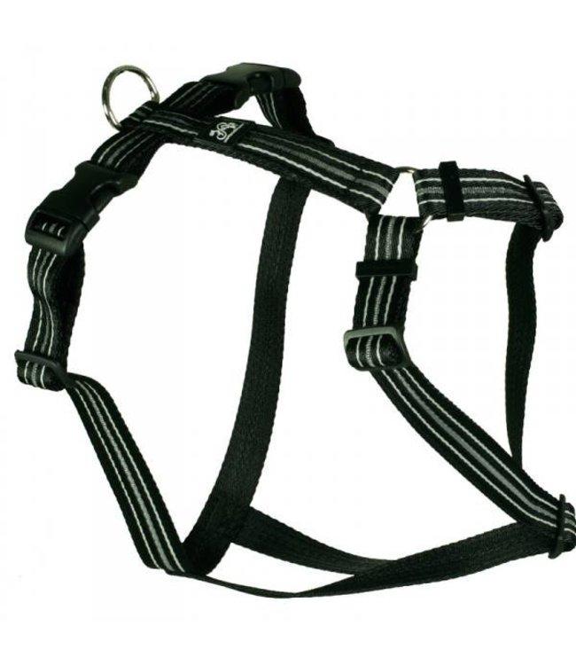 Hundegeschirr - Reflex schwarz