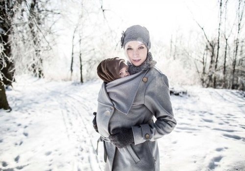 Angel Wings  Woolen babywearing coat grey