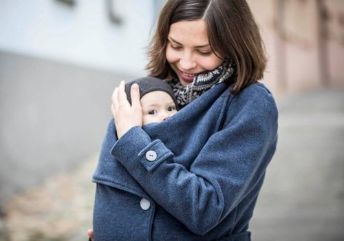 Angel Wings  Woolen babywearing coat blue