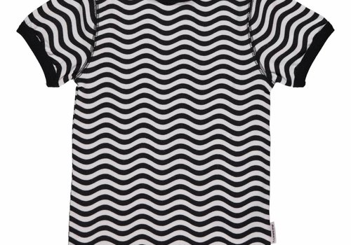Maxomorra Maxomorra Top SS Slim Waves Black/White