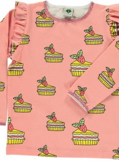 Smafolk Smafolk T-shirt with cake and ruffles Coral