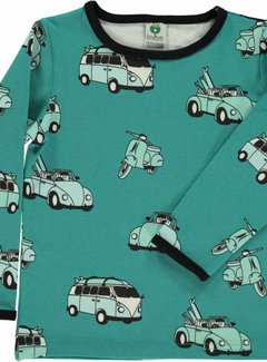 Smafolk Smafolk T-shirt with cars Agate Green