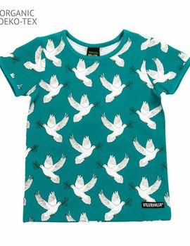 Villervalla Villervalla T-shirt Dove print short sleeve - LAKE