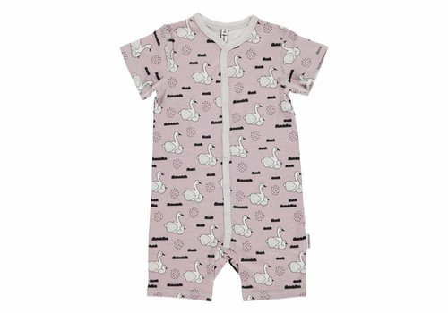 Maxomorra Maxomorra Rompersuit Button SS SWAN BABY POND