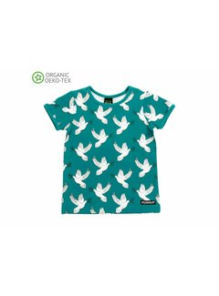 Villervalla Villervalla T-shirt Dove print short sleeve - LAKE