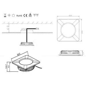 R&M Line LED meubel inbouwspot vierkant 2.6w 12v DC warm wit