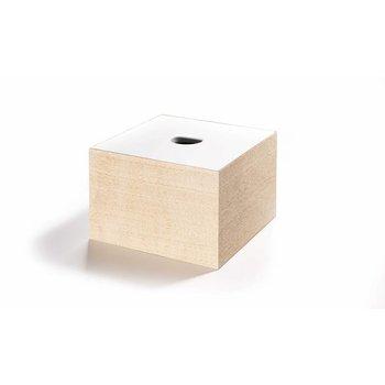 The Oak Men Opbergbox in eik met wit deksel medium