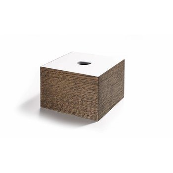 The Oak Men Opbergbox in zwart geoliede eik met wit deksel medium