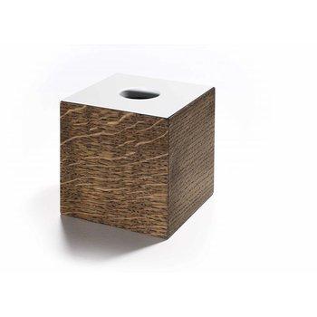 The Oak Men Opbergbox in zwart geoliede eik met wit deksel klein