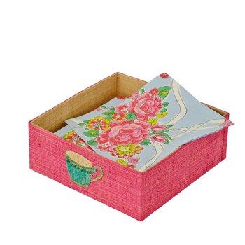 Rice Servettendoos in raffia roze