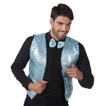 Blauwe Glitter Gilet en Strik M/L