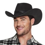 Cowboyhoed Zwart Leatherlook Toppers Deluxe