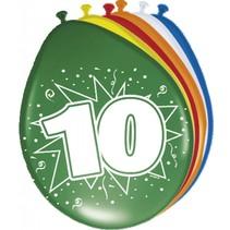 Ballonnen 10 Jaar 30cm 8 stuks