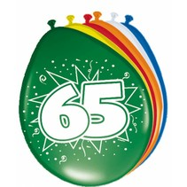 Ballonnen 65 Jaar 30cm 8 stuks