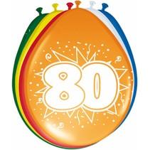 Ballonnen 80 Jaar 30cm 8 stuks