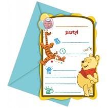 Winnie The Pooh Uitnodigingen Versiering 6 stuks