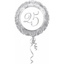 Helium Ballon 25 Jaar Zilver 43cm leeg