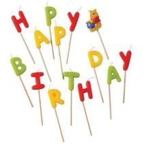 Winnie The Pooh Kaarsjes Happy Birthday 9cm 13 stuks