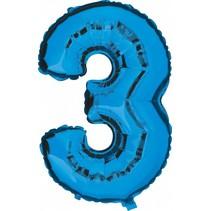 Folie Ballon Cijfer 3 Blauw XL 86cm leeg
