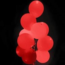 Rode Led Ballonnen Metallic met schakelaar 30cm 4 stuks