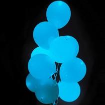 Lichtblauwe Led Ballonnen Metallic met schakelaar 30cm 4 stuks