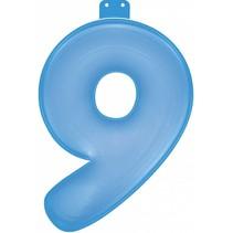 Opblaascijfer 9 Blauw 35cm