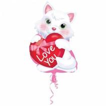 Helium Ballon Love You Kitten 45cm leeg